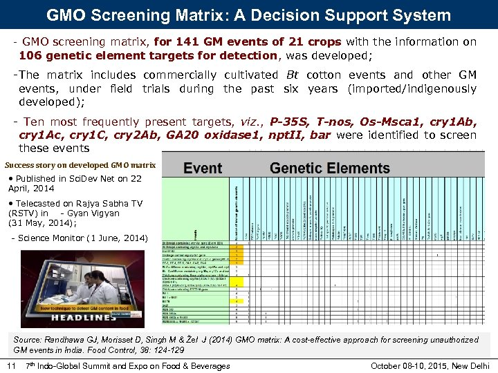 GMO Screening Matrix: A Decision Support System - GMO screening matrix, for 141 GM