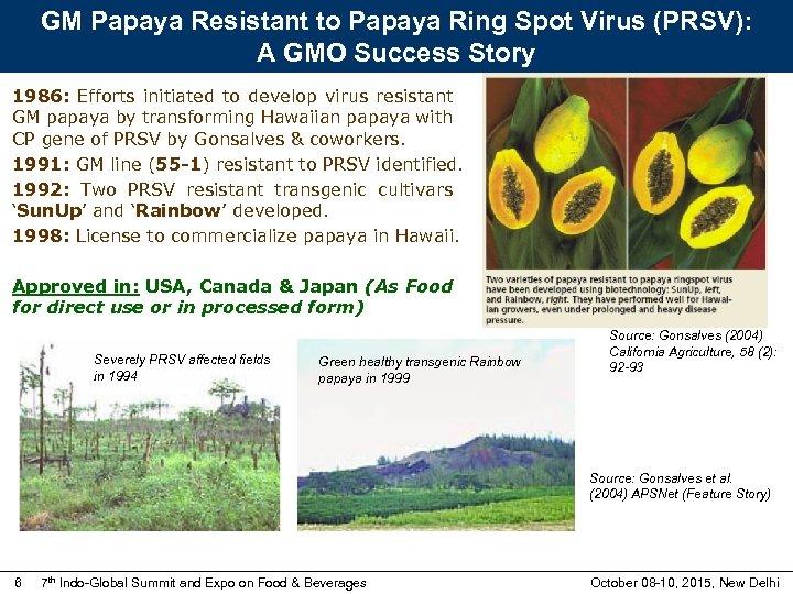 GM Papaya Resistant to Papaya Ring Spot Virus (PRSV): A GMO Success Story 1986: