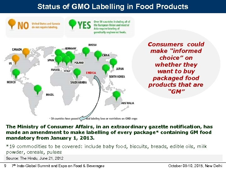 """Status of GMO Labelling in Food Products INDIA Consumers could make """"informed choice"""" on"""