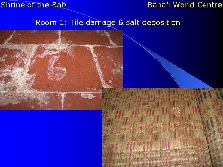 Shrine of the Bab Baha'i World Centre Room 1: Tile damage & salt deposition