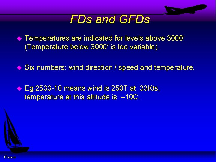 FDs and GFDs u u Six numbers: wind direction / speed and temperature. u