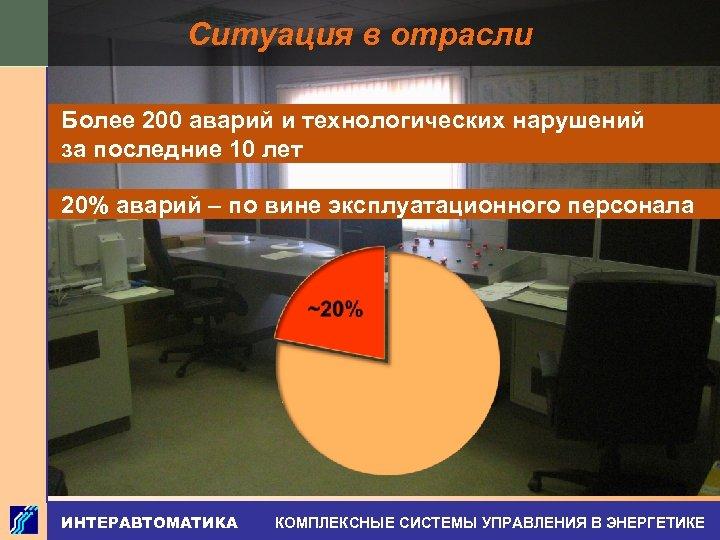 Ситуация в отрасли Более 200 аварий и технологических нарушений за последние 10 лет 20%
