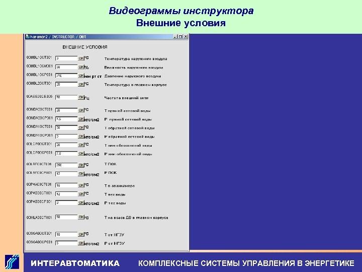 Видеограммы инструктора Внешние условия ИНТЕРАВТОМАТИКА КОМПЛЕКСНЫЕ СИСТЕМЫ УПРАВЛЕНИЯ В ЭНЕРГЕТИКЕ