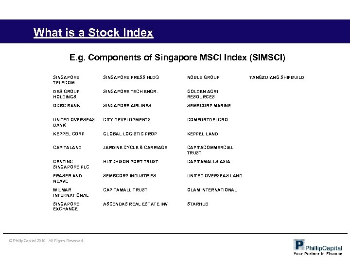 What is a Stock Index E. g. Components of Singapore MSCI Index (SIMSCI) SINGAPORE