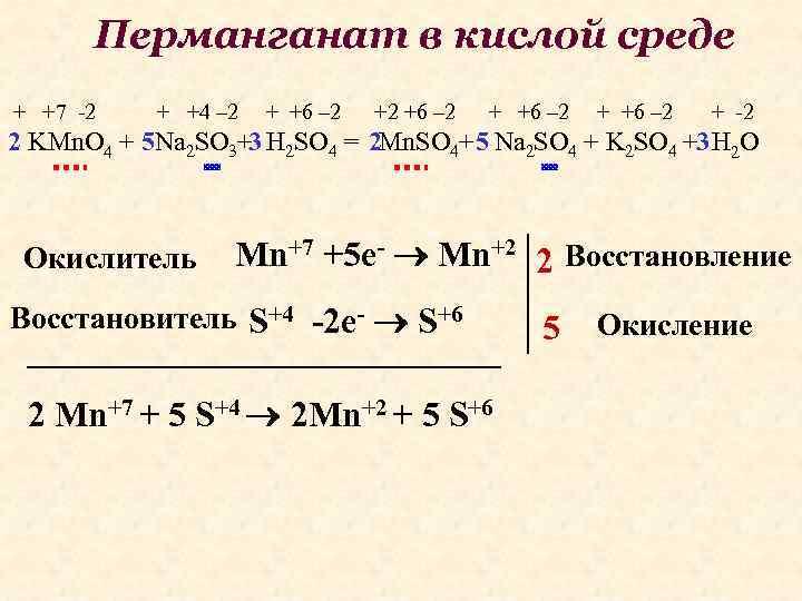 Перманганат в кислой среде + +7 -2 + +4 – 2 + +6 –