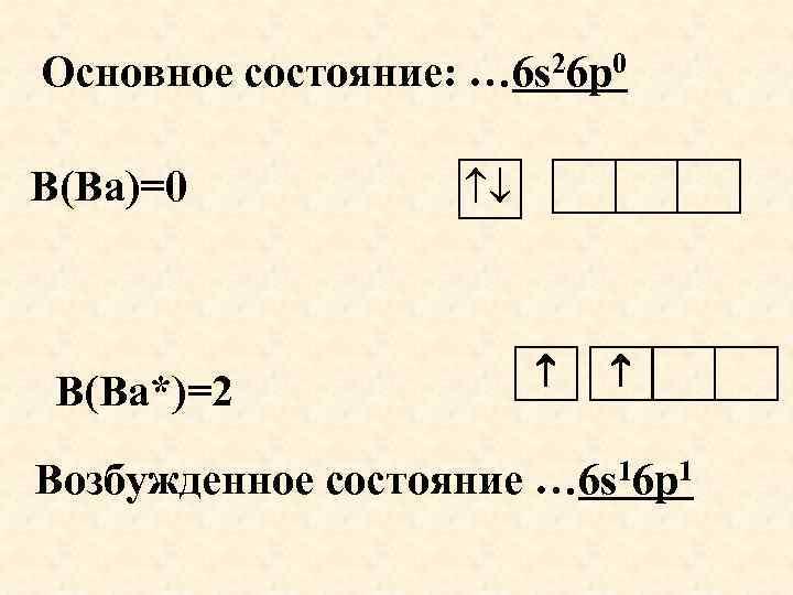 Основное состояние: … 6 s 26 р0 В(Ва)=0 В(Ва*)=2 Возбужденное состояние … 6 s