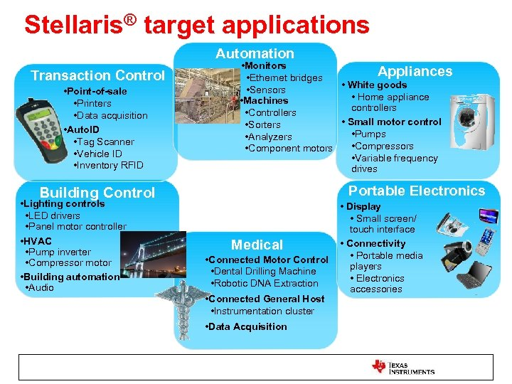 Stellaris® target applications Automation Transaction Control • Point-of-sale • Printers • Data acquisition •