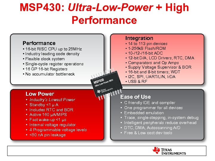 MSP 430: Ultra-Low-Power + High Performance Integration Performance • 14 to 113 pin devices