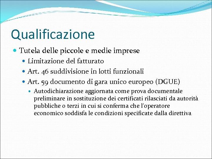 Qualificazione Tutela delle piccole e medie imprese Limitazione del fatturato Art. 46 suddivisione in