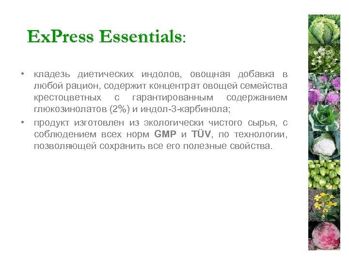 Ex. Press Essentials: Essentials • кладезь диетических индолов, овощная добавка в любой рацион, содержит
