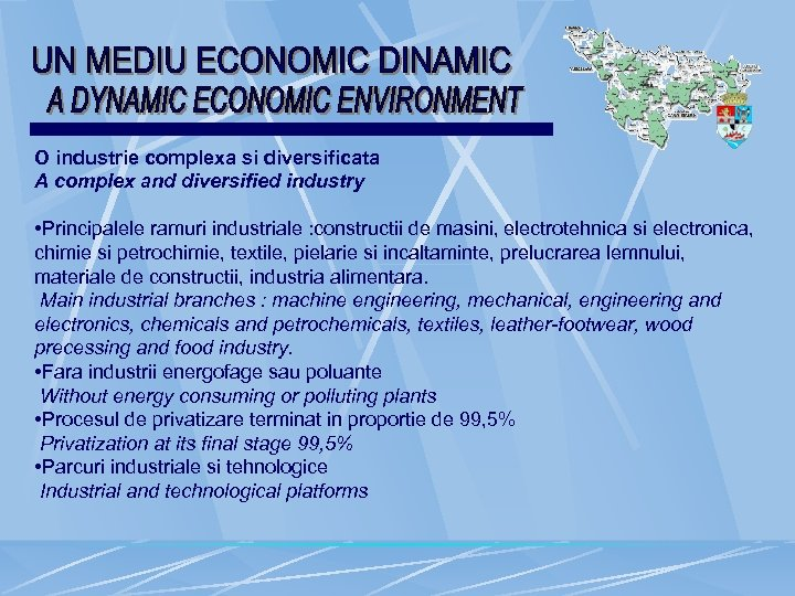 O industrie complexa si diversificata A complex and diversified industry • Principalele ramuri industriale