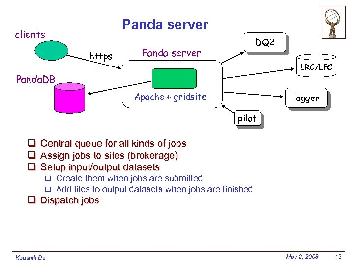 Panda server clients https DQ 2 Panda server LRC/LFC Panda. DB Apache + gridsite