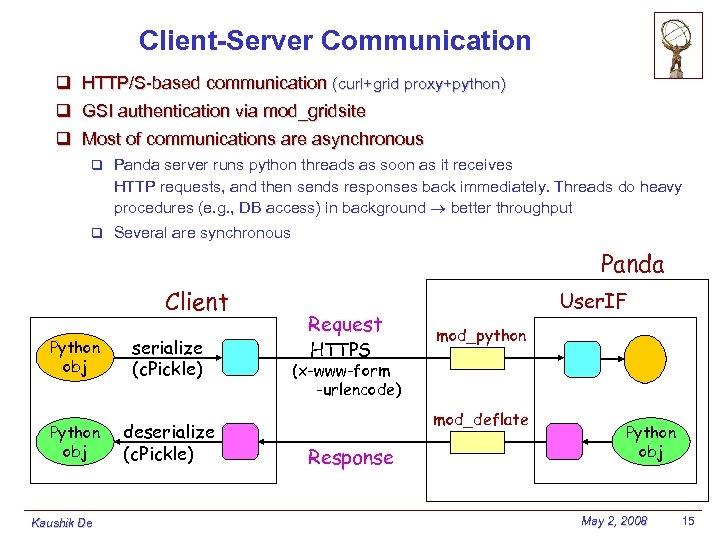 Client-Server Communication q HTTP/S-based communication (curl+grid proxy+python) q GSI authentication via mod_gridsite q Most