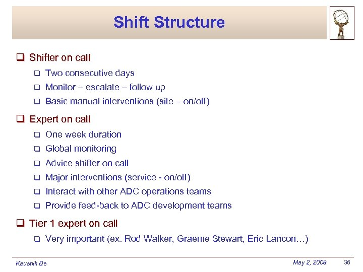 Shift Structure q Shifter on call q Two consecutive days q Monitor – escalate