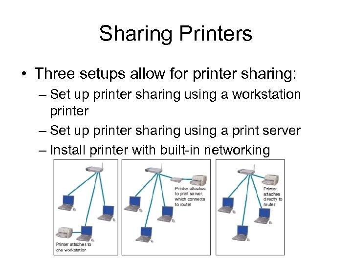 Sharing Printers • Three setups allow for printer sharing: – Set up printer sharing