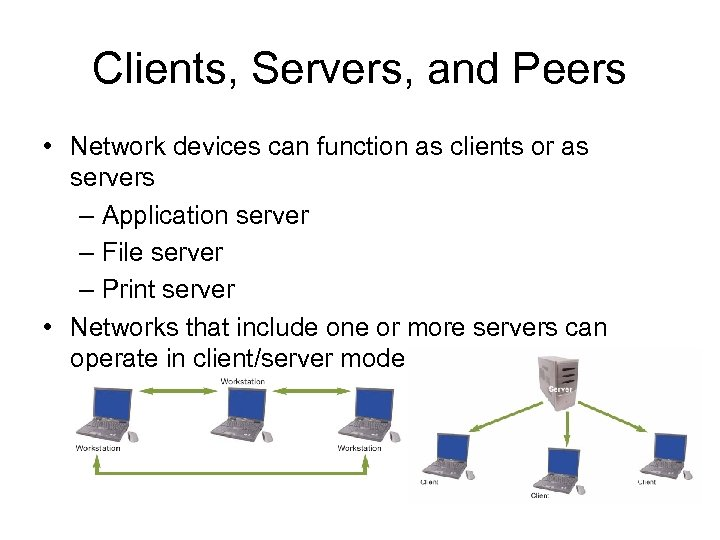 Clients, Servers, and Peers • Network devices can function as clients or as servers