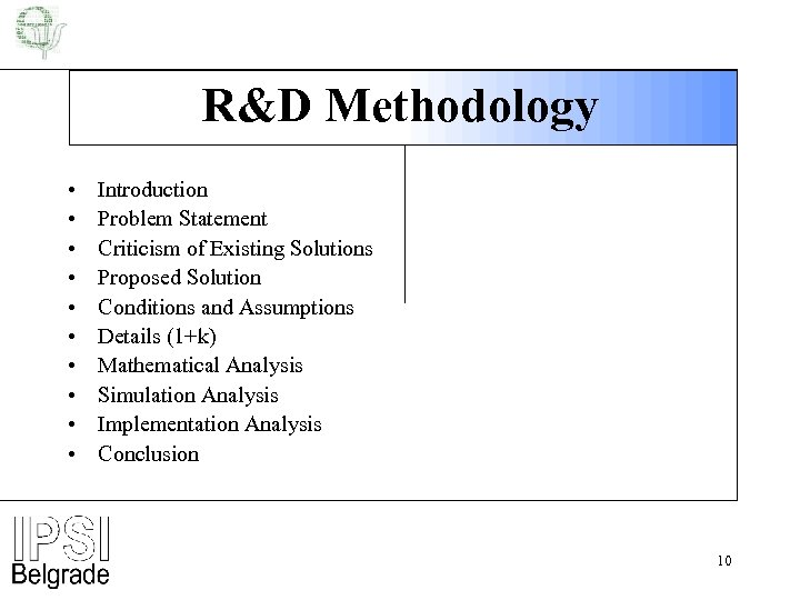 R&D Methodology • • • Introduction Problem Statement Criticism of Existing Solutions Proposed Solution