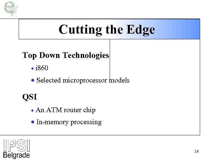 Cutting the Edge Top Down Technologies · i 860 · Selected microprocessor models QSI