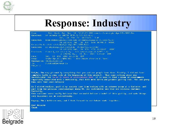 Response: Industry 19