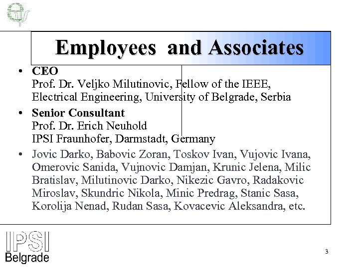 Employees and Associates • CEO Prof. Dr. Veljko Milutinovic, Fellow of the IEEE, Electrical