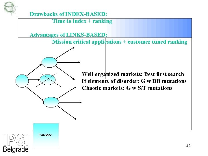 Drawbacks of INDEX-BASED: Time to index + ranking Advantages of LINKS-BASED: Mission critical applications