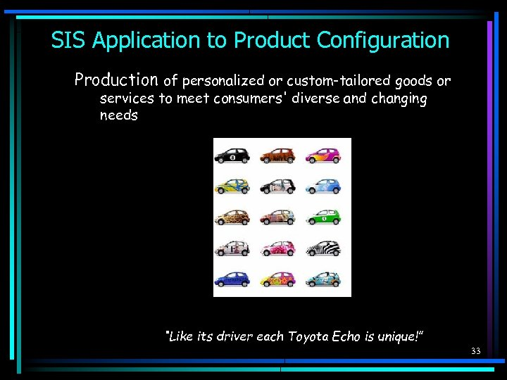 SIS Application to Product Configuration Production of personalized or custom-tailored goods or services to