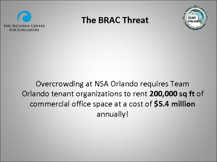 The BRAC Threat Overcrowding at NSA Orlando requires Team Orlando tenant organizations to rent