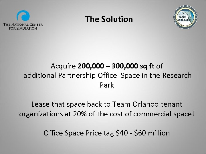 The Solution Acquire 200, 000 – 300, 000 sq ft of additional Partnership Office