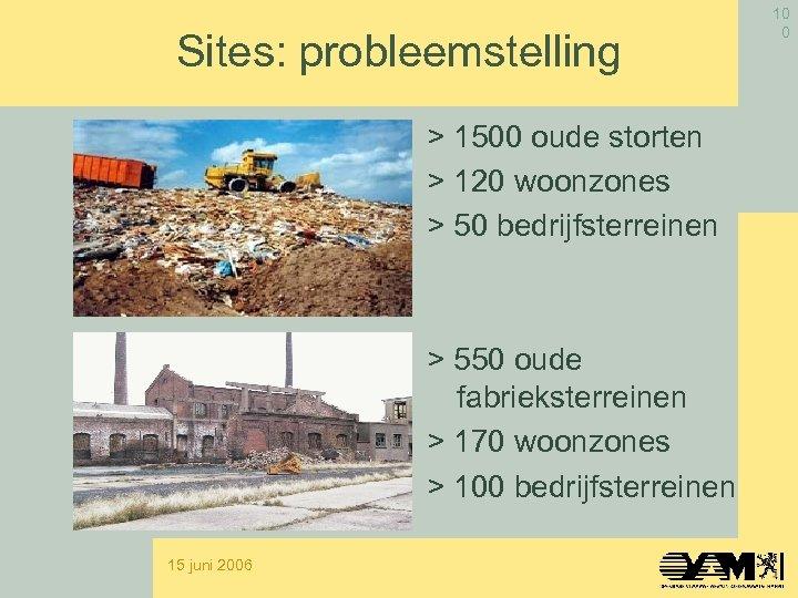 Sites: probleemstelling > 1500 oude storten > 120 woonzones > 50 bedrijfsterreinen > 550