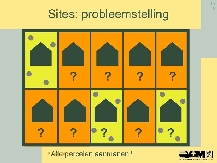 Sites: probleemstelling ? ? ? Alle percelen aanmanen ! 15 juni 2006 10 2