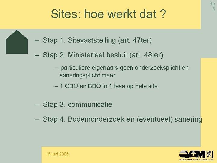 Sites: hoe werkt dat ? – Stap 1. Sitevaststelling (art. 47 ter) – Stap