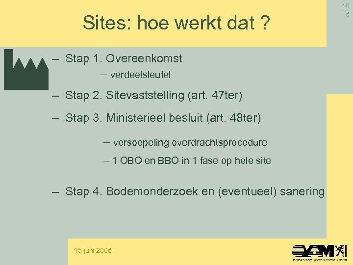 Sites: hoe werkt dat ? – Stap 1. Overeenkomst - verdeelsleutel – Stap 2.