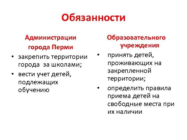 Обязанности Администрации города Перми • закрепить территории города за школами; • вести учет детей,