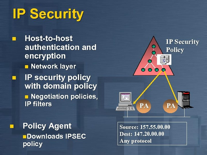 IP Security n Host-to-host authentication and encryption IP Security Policy n Network layer n