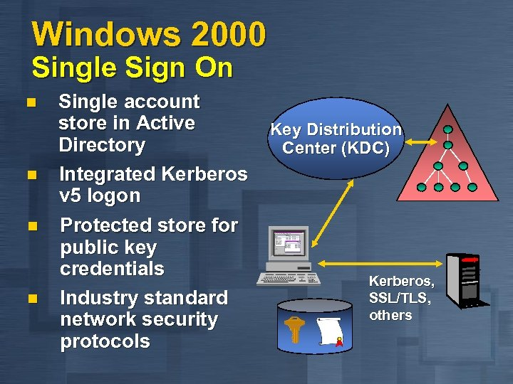 Windows 2000 Single Sign On n n Single account store in Active Key Distribution