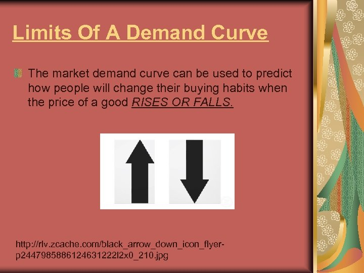 Limits Of A Demand Curve The market demand curve can be used to predict