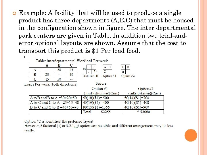 Example: A facility that will be used to produce a single product has