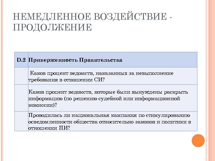 НЕМЕДЛЕННОЕ ВОЗДЕЙСТВИЕ ПРОДОЛЖЕНИЕ D. 2 Приверженность Правительства Каков процент ведомств, наказанных за невыполнение требования