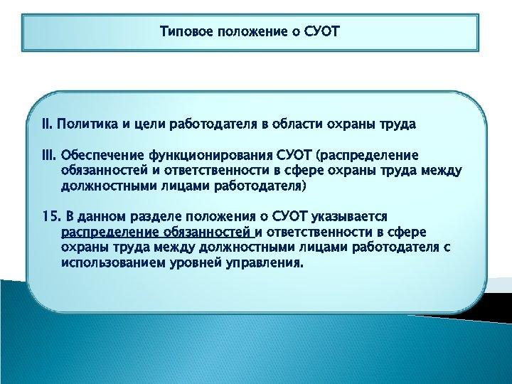 Типовое положение о СУОТ II. Политика и цели работодателя в области охраны труда III.
