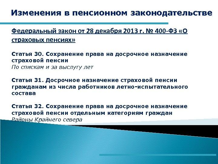Изменения в пенсионном законодательстве Федеральный закон от 28 декабря 2013 г. № 400 -ФЗ