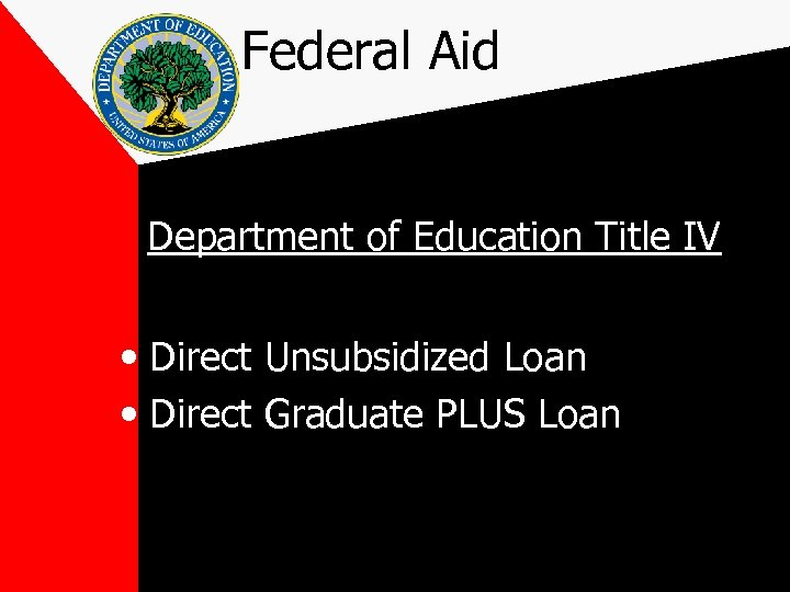 Federal Aid Department of Education Title IV • Direct Unsubsidized Loan • Direct Graduate