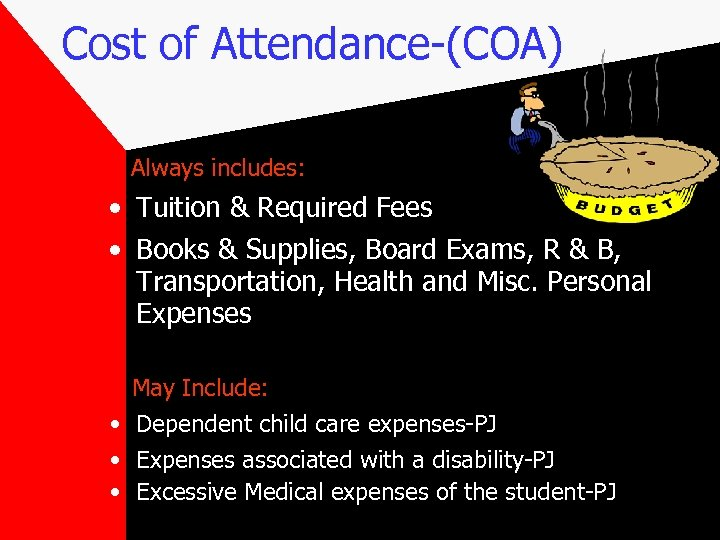 Cost of Attendance-(COA) Always includes: • Tuition & Required Fees • Books & Supplies,