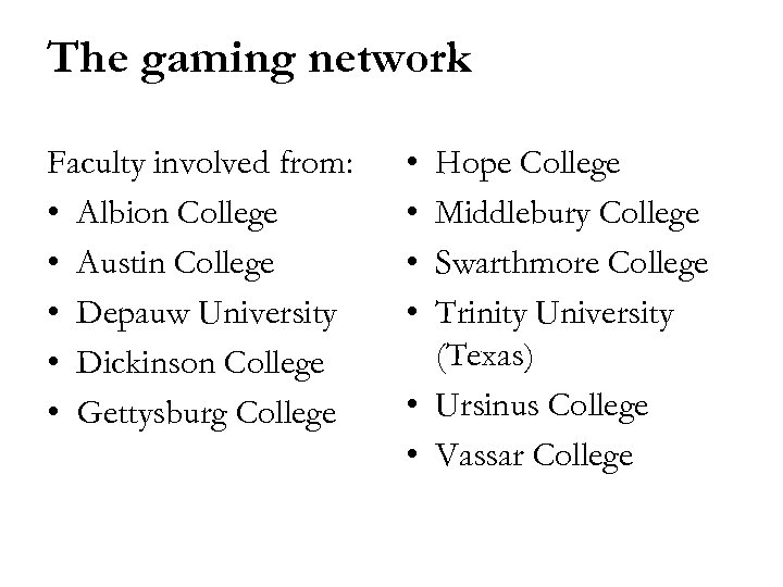 The gaming network Faculty involved from: • Albion College • Austin College • Depauw