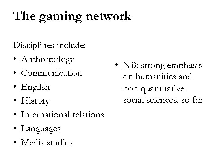 The gaming network Disciplines include: • Anthropology • Communication • English • History •