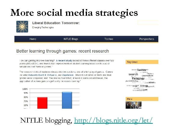 More social media strategies NITLE blogging, http: //blogs. nitle. org/let/