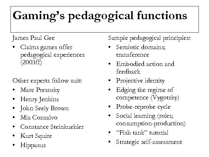 Gaming's pedagogical functions James Paul Gee • Claims games offer pedagogical experiences (2003 ff)