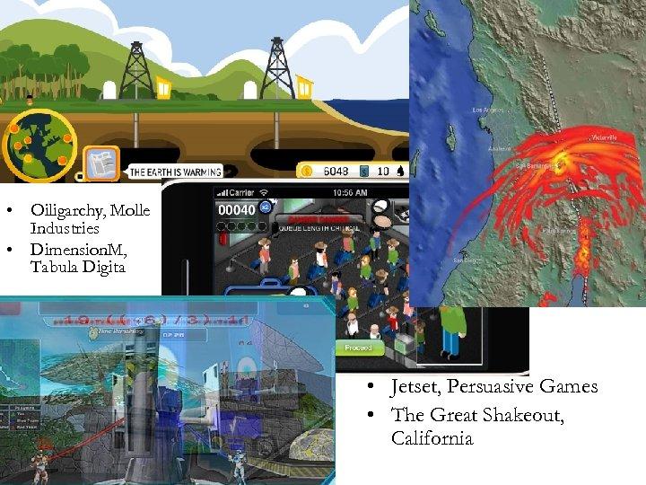 • Oiligarchy, Molle Industries • Dimension. M, Tabula Digita • Jetset, Persuasive Games