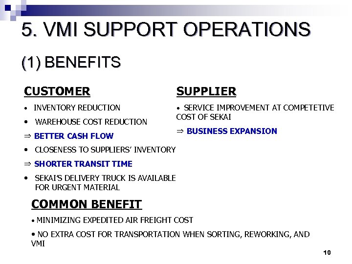 5. VMI SUPPORT OPERATIONS (1) BENEFITS CUSTOMER SUPPLIER • INVENTORY REDUCTION • SERVICE IMPROVEMENT