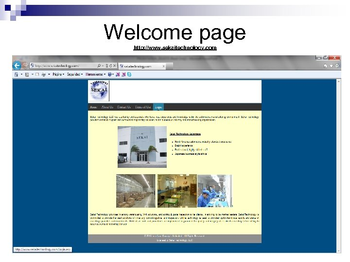 Welcome page http: //www. sekaitechnology. com 14