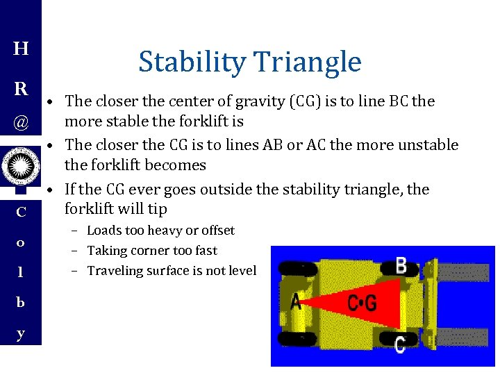 H R @ C o l Stability Triangle • The closer the center of